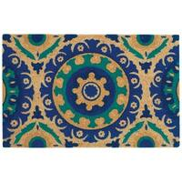 "Waverly Greetings ""Solar Flair"" Aqua Doormat by Nourison - 1'6 x 2'4"
