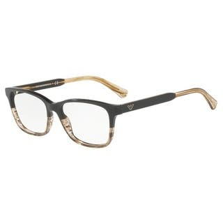 ea5d2ab81de SALE. Emporio Armani Women s EA3121 5567 54 Brown Tr Striped Beige Rectangle  Plastic Eyeglasses