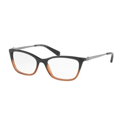 Coach Women's HC6107 5475 52 Black Amber Glitter Gradient Rectangle Plastic Eyeglasses