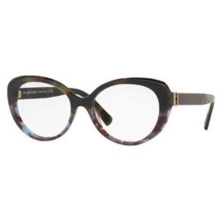 Burberry Women's BE2251F 3636 53 Green Havana/Blue Havana Round Plastic Eyeglasses