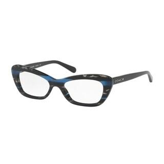 Coach Women's HC6108 5477 50 Blue Glitter Varsity Stripe Cateye Plastic Eyeglasses