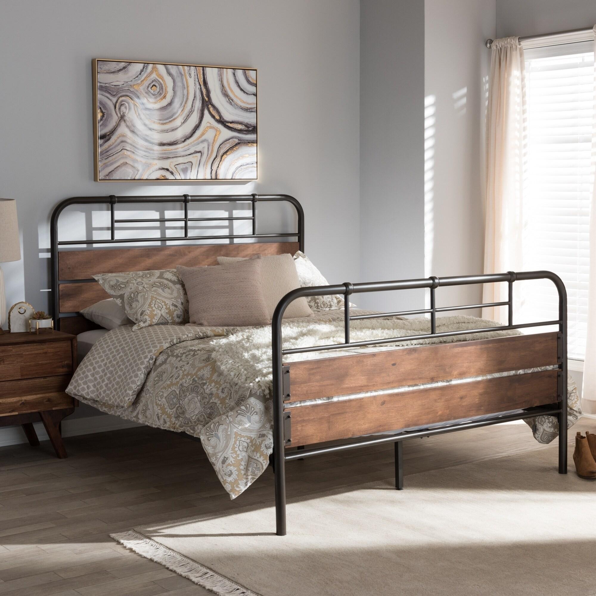 Industrial Black Metal and Brown Wood Platform Bed by Baxton Studio