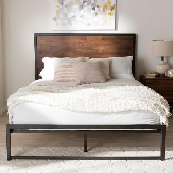 Shop Industrial Black Metal And Brown Wood Platform Bed By