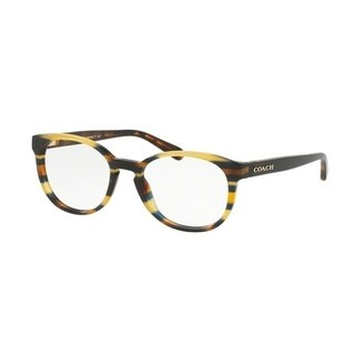 Coach Women's HC6102 5441 51 Blue Honey Gltr Varsity Stripe Rectangle Plastic Eyeglasses