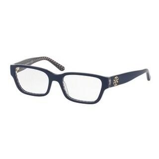 Tory Burch Women's TY2074 1655 51 Navy/Blue Zig Zag Rectangle Plastic Eyeglasses - Blue
