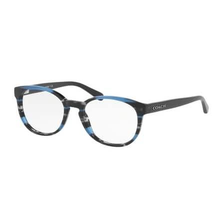 6e009e7c1e47 Coach Women's HC6102 5477 51 Blue Glitter Varsity Stripe Rectangle Plastic  Eyeglasses