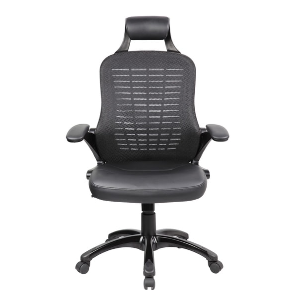 High Back Mesh and PU Executive and Managerial Computer Desk Swivel Office Chair with Headrest