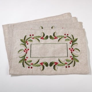 Embroidered Holly Design Linen Blend Placemat Set