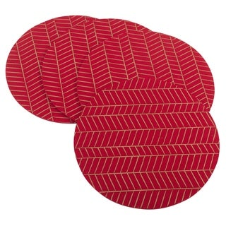 Metallic Chevron Design Holiday Felt Placemat Set