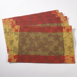 Fall Foliage Design Jacquard Cotton Placemat Set