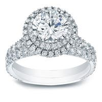 14k Gold Round 2 1/3ct TDW Certified Double Halo Diamond Engagement Ring Set by Auriya