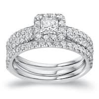Auriya 14k Gold 1 1/4ct TDW Certified 3pc Princess-Cut Halo Diamond Engagement Ring Set