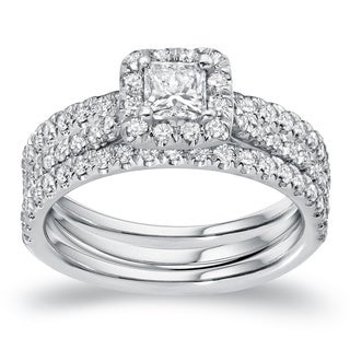 Auriya 1 1/4ctw Princess-Cut Diamond Halo Engagement Ring and Wedding Band 3Pc Set 14k Gold