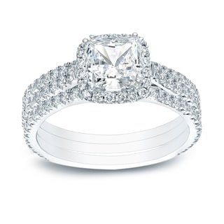 Auriya 14k Gold Certified 2 2/5ct TDW Cushion-cut Diamond Halo Engagement Ring - White H-I