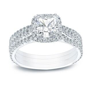 Auriya 14k Gold Certified 2 2/5ct TDW Cushion-cut Diamond Halo Engagement Ring - White H-I
