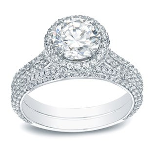 Auriya 14k Gold 2 5/8ct TDW Certified Diamond Halo Engagement Ring - White H-I