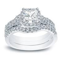 Auriya 14k Gold 1 1/2ct TDW Princess-cut Halo Diamond Engagement Ring and Wedding Band 3Pc Set