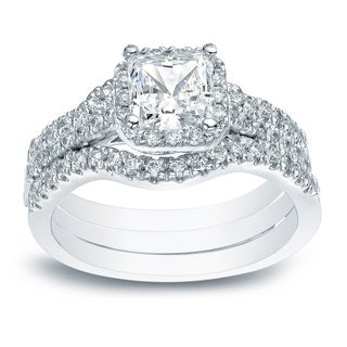 Auriya 14k Gold 1 1/2ct TDW Princess-cut Diamond Halo Engagement Ring Set - White I-J