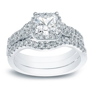 14k Gold Princess-cut 1 1/2ct TDW Diamond Halo Engagement Ring 3Pc Set by Auriya