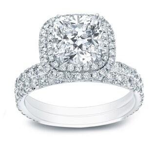 Auriya 14k Gold 2 1/6ct TDW Certified Cushion-cut Diamond Double Halo Engagement Ring - White H-I