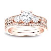 Auriya 14k Gold 1 1/4ct TDW Certified 3-Stone Round Diamond Engagement Ring Set