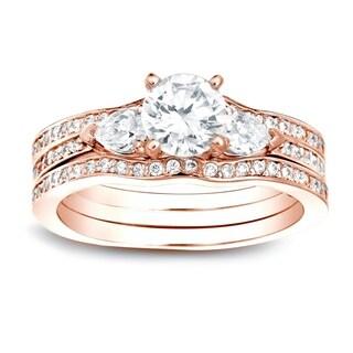 Auriya 14k Gold 1 1/4ct TDW Certified Diamond Bridal Set - White H-I