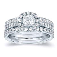 Auriya 14k Gold 1 1/4ct TDW Certified Cushion-Cut Diamond Halo Engagement Ring Set - White H-I