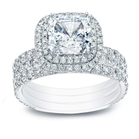 Auriya 14k Gold 2 1/2ct TDW Certified 3Pc. Cushion-Cut French-Pave Halo Diamond Engagement Ring Set