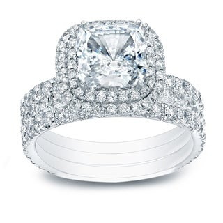 14k Gold 2 1/2ct TDW Cushion-Cut Pave Diamond Halo Engagement Ring 3-Pc. Set by Auriya