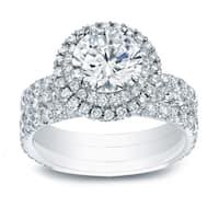 Auriya 14k Gold 2 3/5ct TDW Certified Diamond Double Halo Engagement Ring - White H-I