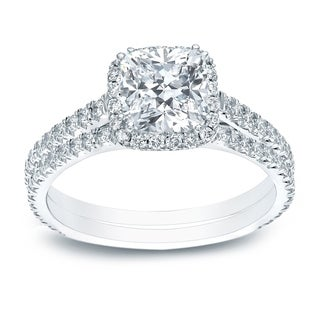 Auriya 2ctw Cushion-Cut Diamond Halo Engagement Ring and Wedding Band Set 14k Gold