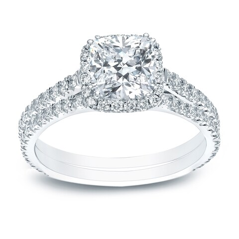 Auriya 14k Gold 2ct TDW Certified Cushion-cut Halo Diamond Engagement Ring Set