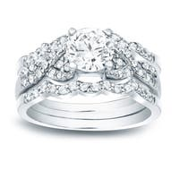 Auriya 14k Gold 1 1/6ct TDW Certified Braided Infinity Round Diamond Engagement Ring Set