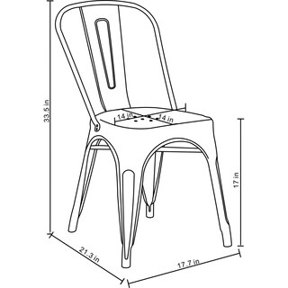 Set of 4 Metal Stackable Industrial Chic Bistro Café Side Chairs