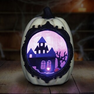 White Pumpkin Statue with LED Haunted Mansion Scene