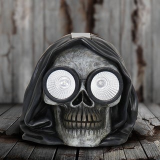 Solar Hooded Skull Statue with LED Eyes