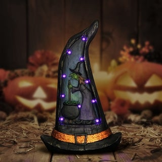 """16"""" LED Witch Hat Marquee Statue with Timer"""
