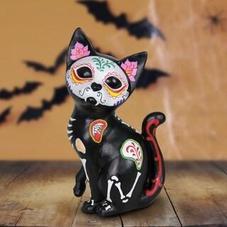 Sugar Skull Cat Statue