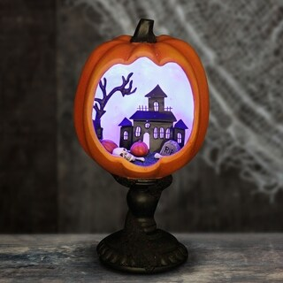 Mounted Pumpkin Statue with LED Haunted Mansion Scene