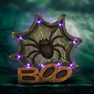 """12"""" LED Spider Web Marquee Statue with Timer"""