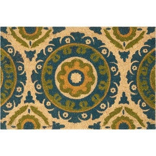 """Waverly Greetings """"Solar Flair"""" Blue Green Doormat by Nourison (2' x 3')"""