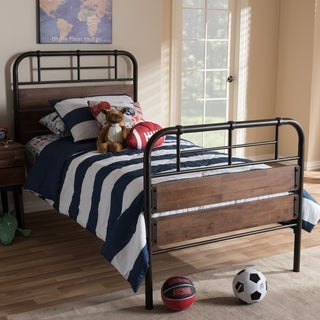 Industrial Metal and Wood Twin Size Platform Bed by Baxton Studio