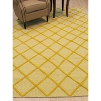 Handmade Wool Yellow Transitional Trellis Xavier Rug - 8' x 10'