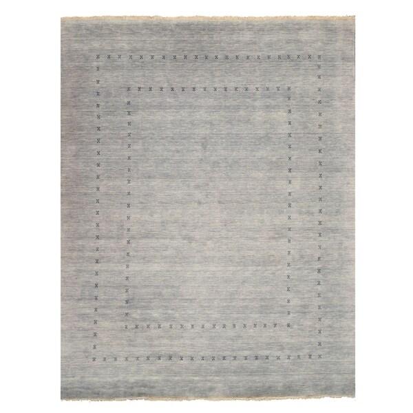 "Handmade Wool Gray Traditional Solid Lori Baft Rug - 2'6"" x 8'"