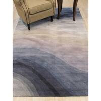 Hand-tufted Wool Blue Contemporary Abstract Desertland Rug - 5' x 8'