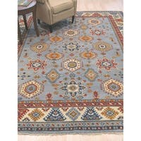 Hand-knotted Wool Blue Traditional Geometric Kazak Rug - 10' x 14'