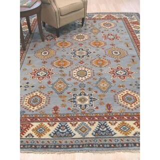 Hand-knotted Wool Blue Traditional Geometric Kazak Rug - 9' x 12'