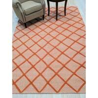 Handmade Wool Orange Transitional Trellis Xavier Rug - 9' x 12'