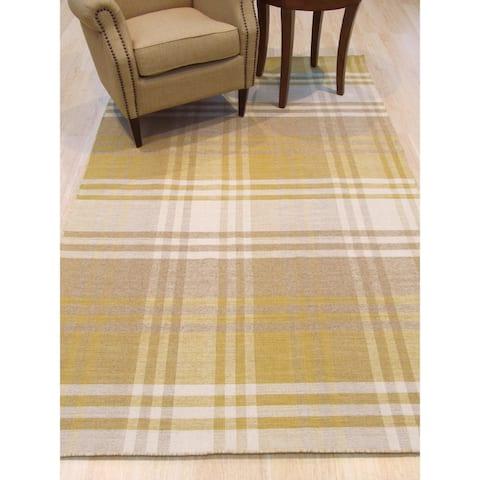 Handmade Wool Yellow Transitional Geometric Plaid Rug - 9' x 12'