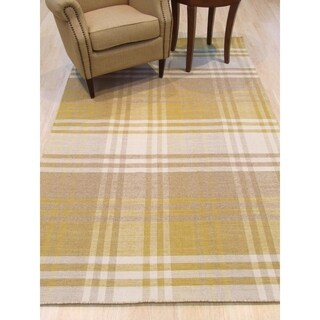 EORC Yellow Wool Handmade Geometric Plaid Rug (9' x 12')